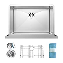 Self Trimming 30 Inch Under mount Farmhouse Tall Apron Single Bowl Stainless Steel Kitchen Sink