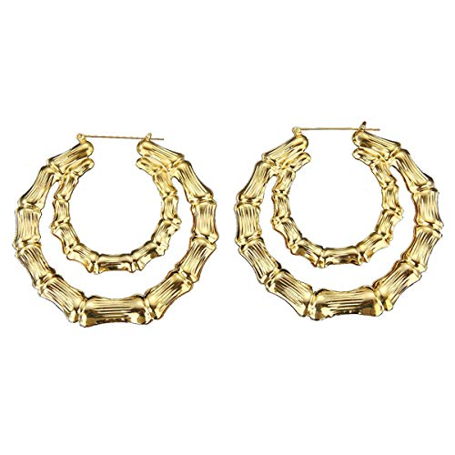 Shoopic Gold Plated Lightweight Bamboo Round Hoop Earrings for - Hoop Double Round Gold
