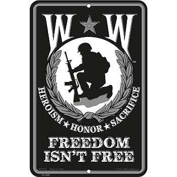 Wounded Warrior, Freedon Isn't Free Sign by Eagle