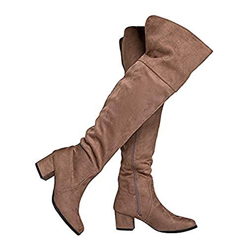 (J. Adams Brandy Over The Knee Boot - Trendy Low Block Heel Suede Thigh High)