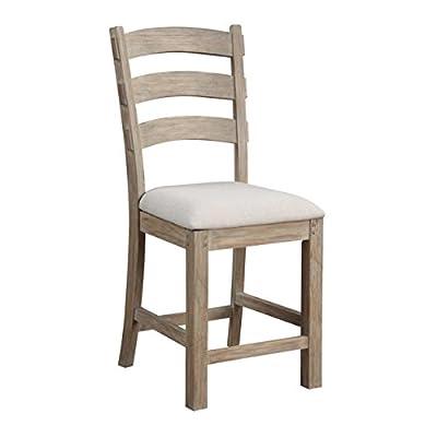 "Emerald Home Furnishings Castle Bay Barstool 24"" Upholstered Seat, Standard, Pine-X2147"