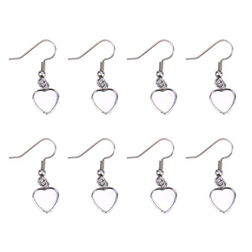 (Monrocco 20PCS/10Pairs Heart Shape Stainless Steel Earring Blanks Wire Hooks Earring Settings for DIY Jewelry Making Supplies and Earring Findings)