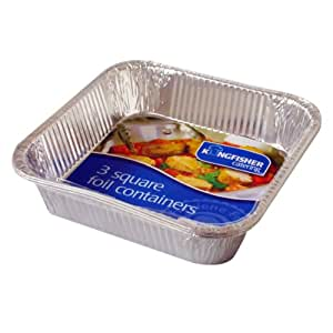 """Catering - Pack Of 3 - 8""""/20cm Square Foil Roasting Trays"""