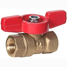 """Midwest Control MFTH-25 1/4"""" Fpt x Fpt Mini Brass Ball Valve w/T-Handle 600 Cwp,"""