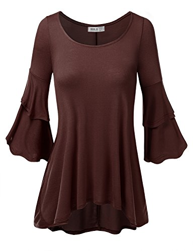 SJSP Women Easy to Wear Patterned 3/4 Sleeve Big Size Tunic Top BROWN,3XL