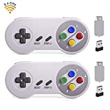 HonWally Wireless Game pad Compatible Super NES Classic Edition&NES Classic Edition,2.4GHz USB Game Controller Compatible PC,Mac,Raspberry PI and Mobile Phone (Colored Key 2 Packs)