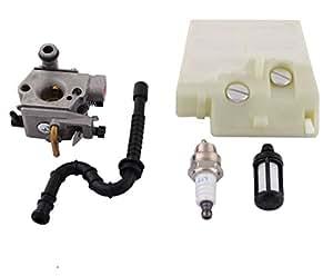 Podoy filtro de aire y combustible para carburador con línea de combustible para bujías para STIHL 024026MS240MS260240Walbro motosierra
