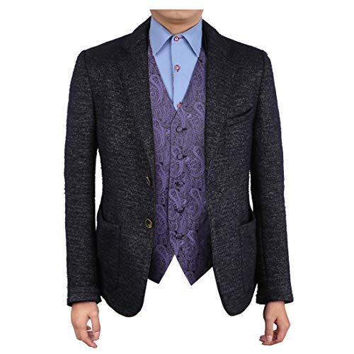 Epoint EGC1B02B-3XL Slate Blue Paisley Wedding Anniversary Gift Waistcoat Woven Microfiber Designer Gift Idea XXX-Large Vest