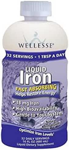 WELLESSE Liquid Mineral Supplement, Iron, 16 OZ (PACK OF 4)