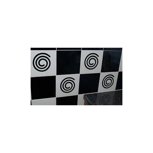 10 X Tile Swirl Transfers Stickers Kitchen Bathroom – Silver