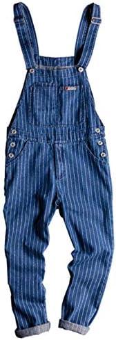 [イダク] メンズ 男性 オーバーオール ストライプ デニム パンツ 流行 ハーレムパンツ ゆったり 通学通勤 カジュアルパンツ