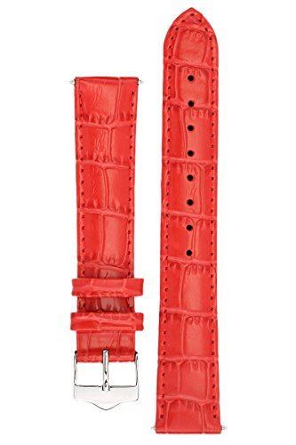 Embossed Leather Shorts - Signature Tropico in red 20 mm short watch band. Replacement watch strap. Genuine leather. Silver Buckle