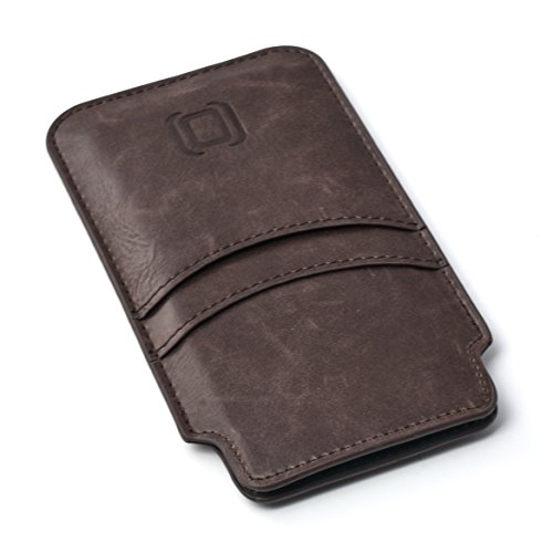 Dockem Provincial Wallet Sleeve for iPhone X; Ultra Slim Vintage Synthetic Leather Cover with 2 Card Holder Slots; Professional Executive Pouch Case [Brown] by Dockem (Image #3)