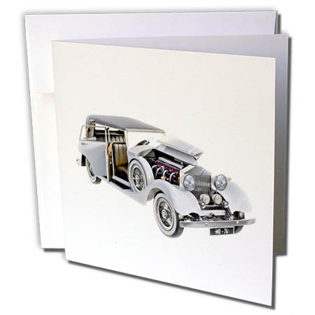 3dRose Boehm Graphics Car - Elegant Classic Car in White with Engine and Doors Open - 12 Greeting Cards with Envelopes ()