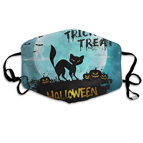 Polyester Mouth Masks With Nose Bridge Wire, Halloween Night Cat Kitten Moon Anti-dust Face Mask For Women And -