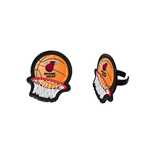 NBA Miami Heat Cupcake Topper Rings Party Favor- Pack of 24 by DecoPac