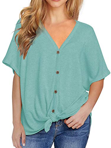 Viishow Womens Loose Henley Blouse Bat Wing Short Sleeve Button Down T Shirts Tie Front Knot Tops Blue Green XXL