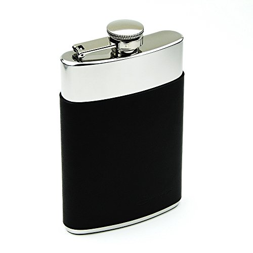 Savage 8oz Hip Flask in Removable Black Leather Case 18/8 Stainless Steel by Savage