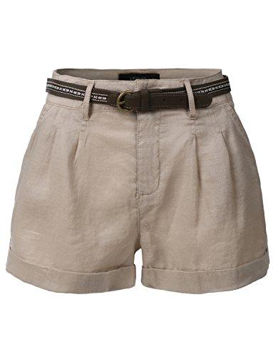 Women : Pleated Shorts Khaki - 1