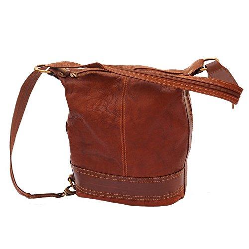 SilberDream - Bolso mochila  de Piel para mujer marrón marrón