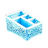 Staron  Desktop Storage Box Plastic Cosmetic Skin Care Products Plastic Storage Rack Organiser Case for Office Supplies and Accessories (Blue)