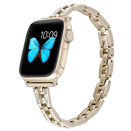 NO1seller Top Band Compatible for Apple Watch Series 38mm 40mm 42mm 44mm Series 4 3 2 1,Bling Ball Metal Wristband Replacement Accessories iWatch Sport Strap (Gold Matches Series 2 1, 42mm/42mm)