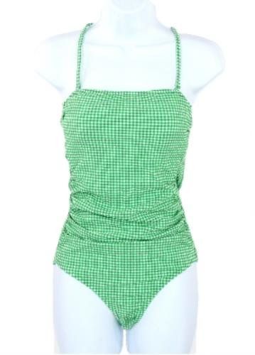 8e7773a0495 J Crew Ruched Bandeau Swimsuit Bathing Suit Gingham Seersucker G5817 ...