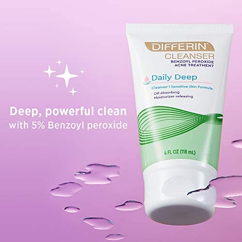 Facial Cleanser by Differin, Acne Face Wash w/ Benzoyl Peroxide, Sensitive Skin Formula, 1 pack, 4Oz, Basic (60600)