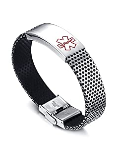 """Free Engraving-Stainless Steel ID Tag Rubber Medical Alert Wristband Bracelets for Men,8.5"""" from Mealguet"""