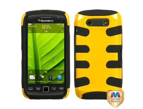 MyBat BB9850HPCSK053NP Fishbone Protective Case for BlackBerry Torch 9850 - 1 Pack - Retail Packaging - Pearl Yellow/Black (Yellow Blackberry Faceplates)