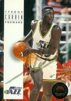 Tyrone Corbin autographed Basketball Card (Utah Jazz) 1993 Skybox #175 light signature - Basketball Autographed Cards