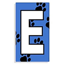 Dog - Cat Paw Prints With Blue Letter E Sticker For House Number / Mailbox / Trash Can / Wheelie Bin - Self Adhesive - Choose Number
