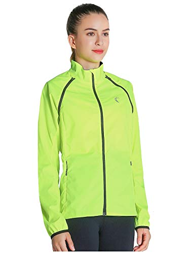 Shelcup Women's Windproof Water Resistant Convertible Cycling Running Jacket (Yellow, - Convertible Jacket Womens