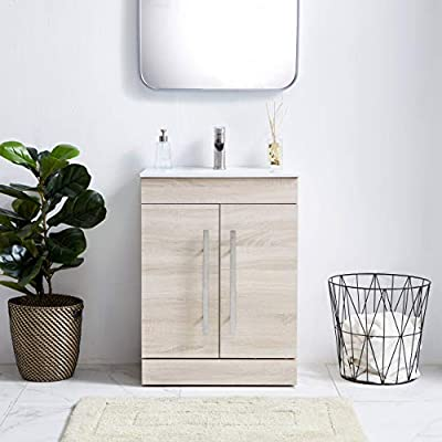 VAPSINT 24 inches Modern MDF Floor Bathroom Vanity with Underamount Ceramic Vessel Sink,Bathroom Sink Vanity and sink… - Modern Design - special brown wood pattern combining with simple cabinet shape, building up a contemporary lifestyle and living space. Small but flexible - Small cabinet size is more suitable for limited room space, bathroom Floor Cabinet Dimension: W24*H32*D14inches Special offer - White vessel sink are included, so you won't need to spend time and energy find them your self. Sink diemension 615*395*170mm - bathroom-vanities, bathroom-fixtures-hardware, bathroom - 417xRwAyZAL. SS400  -