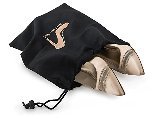 "417xRyz7CeL - Miamica Women's Head Over Heels"" Travel Shoe Bag Packing Organizers, Black/Rose Gold"