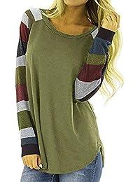 4d46eabfa9c Hosamtel Fashion Womens T-Shirt Long Sleeve Patchwork Button Tie Pullover  Ladies Casual Tops Sweatshirt