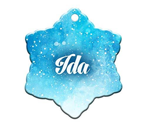 Makoroni - IDA Female Name Christmas Ornament (Snowflake Shape) - Snowflake Holiday Christmas Baby Shower Wedding Ornament -