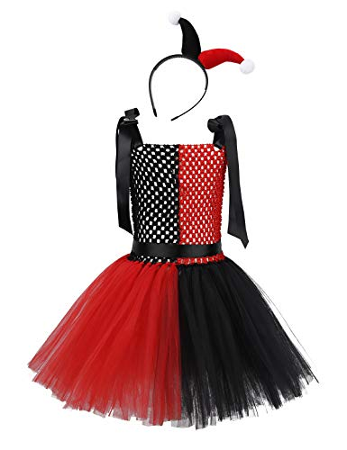 Agoky Girls Halloween Clown Costume Party Dance Tutu Dress Funny Role Play for Mardi Gras Fancy Dress Up Black&Red -