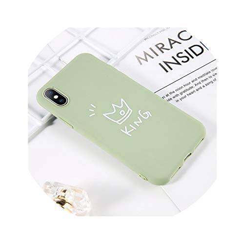 (Luminous Crown Love Heart Phone Case for iPhone X XS XR Xs Max Candy Color Soft TPU Cases Cover for iPhone 6 6s 7 8 Plus,AC4902 Green,for iPhone Xs Max)