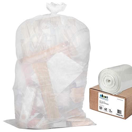 Plasticplace Contractor Trash Bags 42 Gallon │ 3.0 Mil │ Clear Heavy Duty Garbage Bag │ 32.6