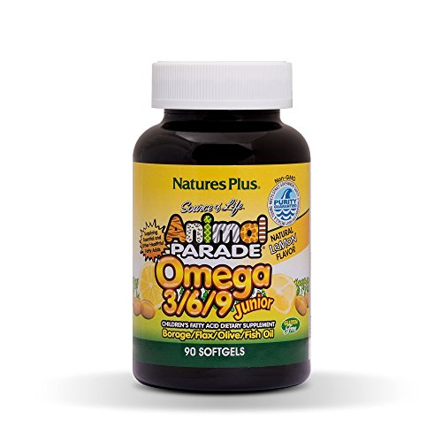 Natures Plus Animal Parade Source of Life Omega 3 6 9 Junior - Natural Lemon Flavor - 90 Softgels - Omega Supplement for Kids, Promotes Focus & Attention - Gluten Free - 45 Servings