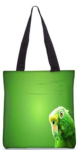 Snoogg Grüner Papagei Tragetasche 13,5 X 15 In Shopping-Dienstprogramm Tragetasche Aus Polyester Canvas