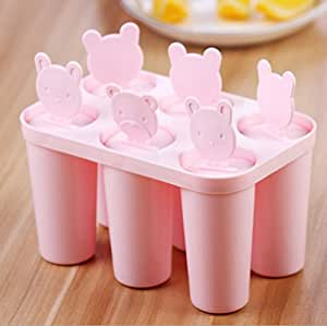 Fieans Super Cuty Bear Round Shape 6 Pieces Custom Popsicle Molds Ice Pop Molds Ice cream Container Ice Pop Maker-Pink