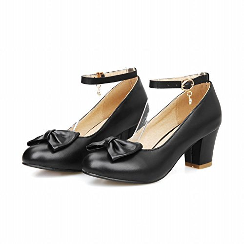 Latasa Womens Fashion Ankle-strap Buckle Mid-heel Dress Casual Pumps Shoes Black tZwGWNl