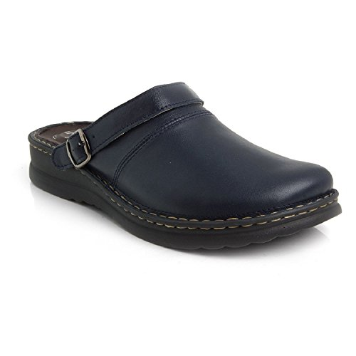 BATZ Zoran 5-Zones Handmade Leather Mens Slip-on Clogs Mules, Blue, 42 EU (9 M US Men)