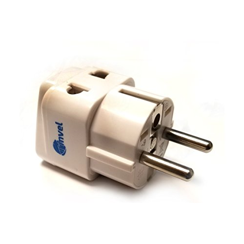 2 in 1 Europe Travel Adapter for European Outlets - Type C, Type E, Type F - Europe Plug Adapter Works in France, Spain, Germany, Netherlands, Belgium, Poland, Russia