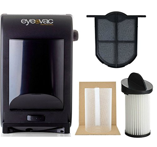 EyeVac EVPRO Tuxedo Black Professional Touchless Vacuum Cleaner + Extra Reusable Exhaust Filter + Extra HEPA Pre-Motor Filter + Pre-Motor Flexible Mesh Filter Screen Accessories - Swept Exhaust