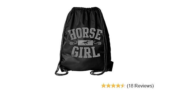 Miss Lulu Gym Drawstring Bags Backpack Horse Canvas Sport Sackpack