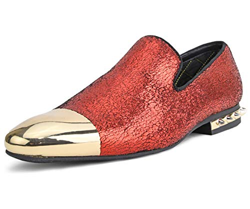 Amali Men's Crinkle Metallic Smoking Slipper with Spiked Heel and Metal Tip Dress Shoe, Style ()