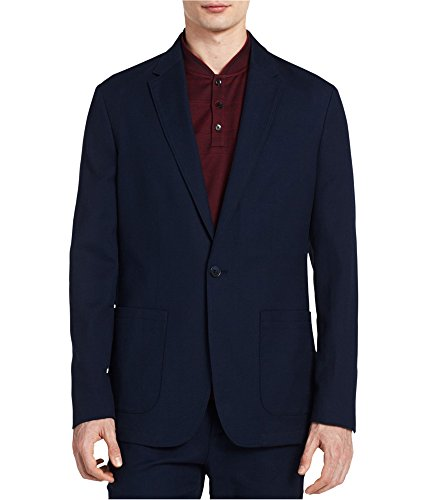 Calvin Klein Mens Single Vent Notch Collar One-Button Blazer Navy XL
